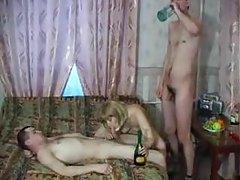 Drunken mom wants the young men inside her tube