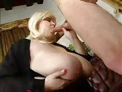 Fat blonde girl in black lingerie fucked tubes