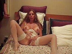 Hot wife films herself masturbating and sucking tubes