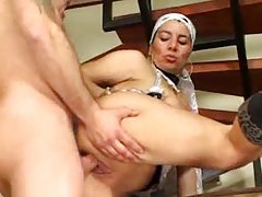 Busty maid fucked on the stairs tubes