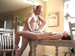 Fucking his girl on the dining room table tubes
