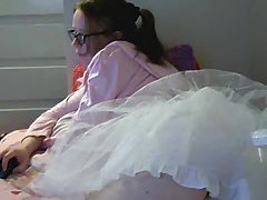 Cute girl in frilly skirt doing webcam chat tubes