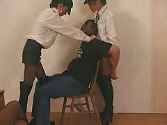 Lady cops in black leather boots abuse man tubes