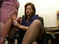 Business chick gives a hot handjob tubes