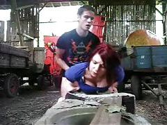 Teen redhead loves getting fucked in the barn tubes