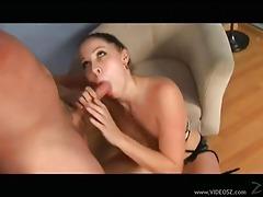 Big tit chick gives handjob with ball sucking tubes