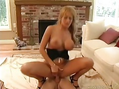 Chick in heels riding a cock and bouncing tubes
