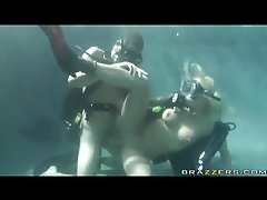 Scuba diving chick fucked in the pool tubes