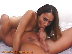 Asian girl sucks him and rides his cock tubes