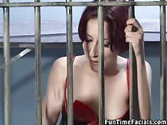 Prisoner is made to suck on two dicks at once tubes