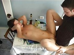 Skinny drunk Russian fucked in kitchen tubes