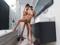 Pornstar April O'Neil fucked in bathroom tubes