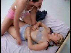 Two girls fool around sensually with shaved pussies tubes