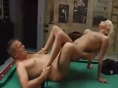 Tattooed girl fucked on a pool table tubes