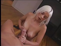 Bleach blonde babe gives POV handjob tubes