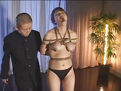 Japanese slut in bondage lactates tubes