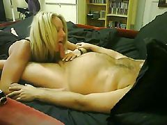 Blonde GF sucks on his small cock tubes
