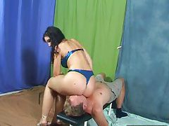 Girl in shiny panties sits on his face tubes
