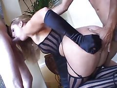 Sexy lingerie on their eager DP slut tubes