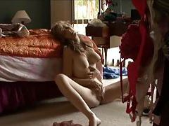 Erotic pussy play as she sits on floor tubes