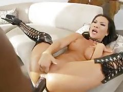 Asian in latex boots goes big and black tubes