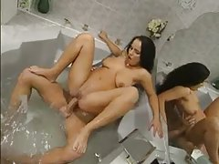 Beauty in bathtub has anal sex tubes