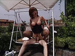 Rooftop sex with Italian milf in lingerie tubes