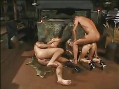 Lusty blondes in a hard anal foursome tubes