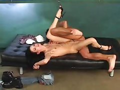 Skinny nympho in heels takes it in cunt tubes