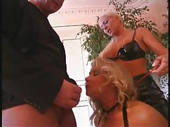 Blonde submits to a couple and sucks dick tubes