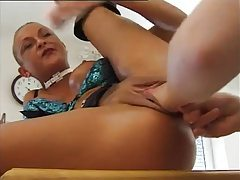 Shaved head girl gets pussy fisted tubes