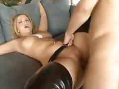 Girl in black leather chaps fucked in her cunt tubes