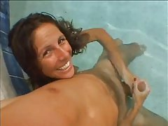 She gives a handjob underwater tubes