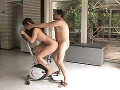 Fucked as she rides the exercise bike tubes