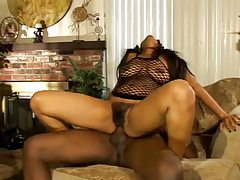 Hairy black slut fucked in a DP tubes