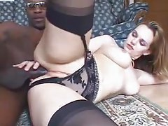 Girl in stockings and panties with two black guys tubes