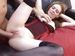 Teen redhead in bustier enjoys big cock tubes
