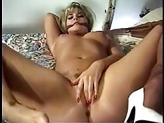 Blonde rips pantyhose to get to pussy tubes