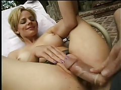 Slut in shiny skirt eaten out and pounded tubes