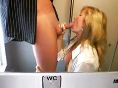 Busty chick sucking dick on a train tubes