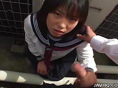 Japanese teen in a schoolgirl outdoor blowjob fun tubes