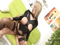 Latex lingerie and anal with a blonde tubes
