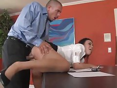 Secretary Ashley Blue fucked in the office tube