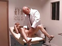 Doctor nails his young shaved patient tubes