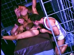 Girl in a cage fucked in group scene tubes