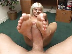 POV blowjob and footjob with blonde tubes
