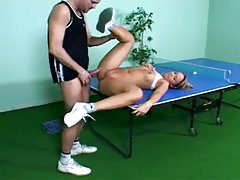 Sporty girl fucked on ping pong table tubes
