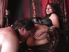 Femdom demands he clean her asshole tubes