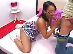 Cute black teen in glasses fucked by dude tubes