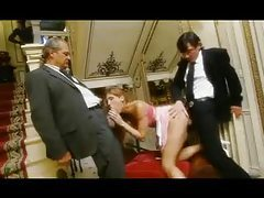 Men in suits bang a babe in a blouse tubes